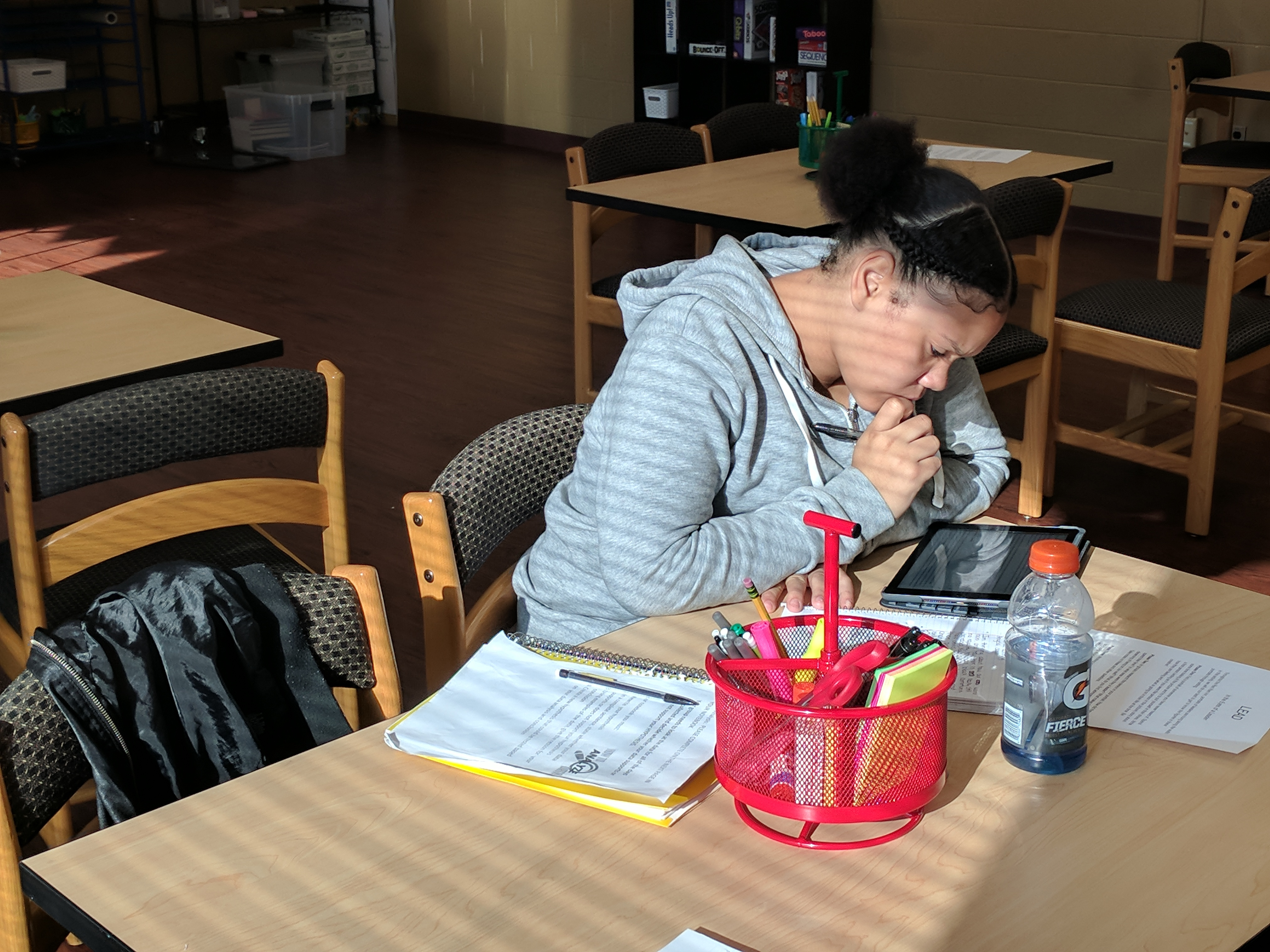 A student hard at work