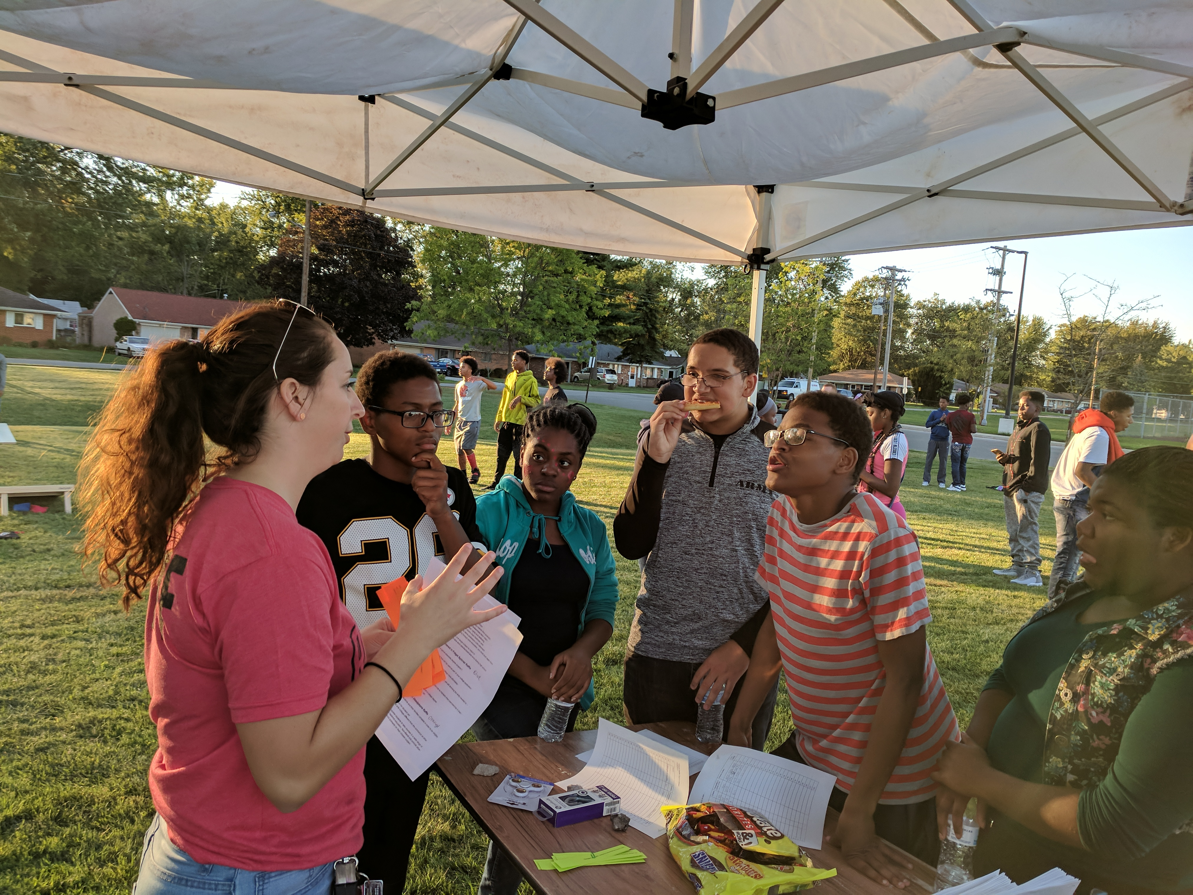 Students at the LEAD Tailgate Party competing in a college trivia contest